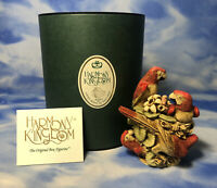 "HTF Harmony Kingdom ""Pieces of Eight"" Red Parrot Birds Box Figurine TJLEPA As Is"