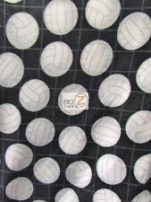 "VOLLEYBALL PRINT POLAR FLEECE FABRIC - Net Black - 60"" WIDE BY YARD SPORTS 640"