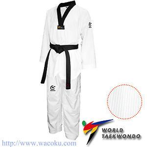 WACOKU - Black V Ribbed TaeKwondo Dobok/Uniform - WT Approved