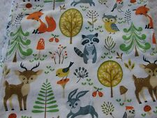 Flannelette Fitted Forest Animals White Cot Sheet Handmade