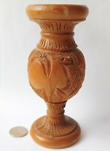 Carved olive wood camel vase from Israel Holy Land Judaica wooden ornament 5.5""