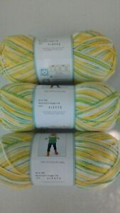 3 Skeins Baby Bee Sweet Delight Snuggle Yellow White Green  All same dye lot