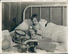 1923 Adorable Girl Salvation Army Hospital Receives Christmas Toys Press Photo