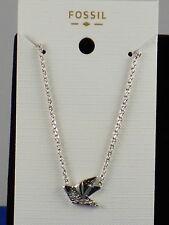 Fossil Brand Silvertone GLITZ Pave' Bird Pendant Necklace JOA00341 040 $38