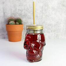 Skull Mason Style Glass Jam Jar with Lid and Straw Party Beer Pop Gothic