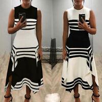 Women Sleeveless Long Dress Loose Casual Dresses A Line Striped Midi Dress