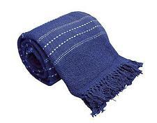 X Large 100 Cotton Navy Blue Stitch Stripe Sofa / Bed Throw