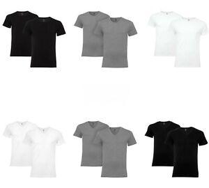Levis Herren 2er Pack 200SF T-Shirt Unterhemd Rundhals V-Neck Kurzarm Unifarben