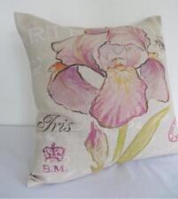 Top Quality Watercolour Pink Iris Linen Blend Cushion Cover 45cmn