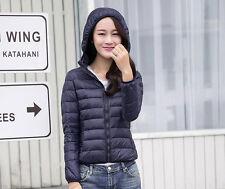 Women's Lady Girl  Duck Down Feather Ultralight Jacket Hooded Padded Coat