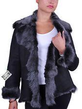 Brandslock Womens Genuine Sheepskin Leather Toscana Merino Wool Coat