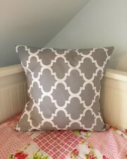 "Grey Quatrefoil cushioncover 16by16"" Moroccan home decor 100% Cotton"