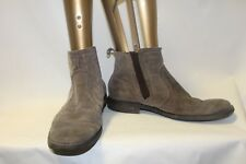 Mens Brown Suede Leather Ankle Boots Size 9.5 Hush Puppies Pull On Shoes
