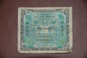 Germany 1/2 Mark ALLIED MILITARY NOTE WWII 1944 Banknote
