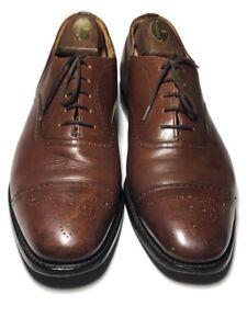 Church's England Men's Custom Grade Leather Cognac Cap Toe Brogue's - 9.5 D