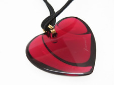 Baccarat Signed Heart Pendant / Necklace - Ruby Red - French Crystal - NIB