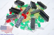 5x Lm3914 Vintage Nos Ic Bargraph Driver 5x Sockets 60x Assorted Leds Usa