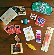 VTG Lot of Sewing Notions, Buttons, Needle Books, Tatting Shuttle, Pin Cushion