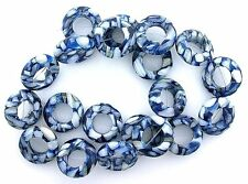 20mm Round Donut Blue Mother Of Pearl Mosaic Gemstone Bead 15 Inch Strand MB40