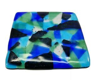 Handmade Fused Glass Tile Hot Pad  Blue Black Green  Triangles Design READ!!!