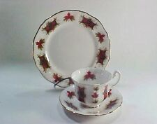 Royal Adderley, England, Maple Leaf Tartan Trio Cup, Saucer & Salad / Cake Plate