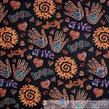BonEful Fabric FQ Cotton Quilt Black Peace African Art Sun*Flower Hippie Rainbow