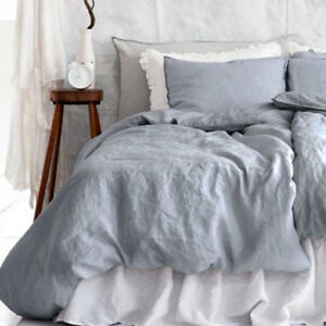 Pre-Washed Pure French Flax Linen Sheet,Quilt Duvet Doona Cover,Pillow Case Sham