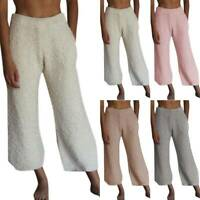 Womens Fluffy Winter Warm Baggy Loose Pants Casual Elastic Waist Long Trousers