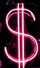 "New US Dollar Pink Bar Decor Light Lamp Artwork Handmade Acrylic Neon Sign 14"""