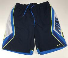"Nike Mens Large Waist 31""-40"" Swim Trunks Boardshorts Blue White 10 1/4"" Inseam"