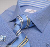 Mens Blue Herringbone Formal Business Dress Shirt Luxury Designer Sydney Boss A+