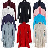 New Womens Ladies Knitted Waterfall Cardigan Boyfriend Jumper Plus Size UK 16-26