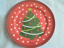 "Christmas 10.5"" Plastic Melamine Plate New! Christmas Tree Polka Dots  CUTE"