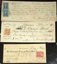 US revenue Stamps on early 1870s Checks, lot of 3 checks each with nice cancels!