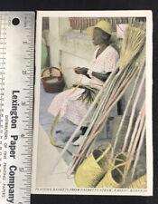 1930s NASSAU, BAHAMAS, Vintage Postcard: Plaiting Baskets From Palmetto Straw