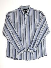 Age of Wisdom Blue Gray Striped L/S Mens Dress Shirt Pearl Snaps Large