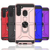 For Samsung Galaxy A21,SM-A215U Rugged Case Magnetic Finger Ring Kickstand Cover