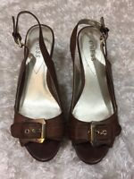 GUESS Cork WEDGES Size 10 Gold Tone Buckle Brown Sandals Women's Heels Shoes