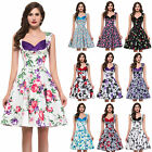 HOUSEWIFE Floral 50s 60s Retro Party Pin up Swing Vintage Prom Dress