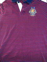 Polo Ralph Lauren 381 Bleeker Q Pier 18 Rugby Polo Shirt Medium Stripe Red Blue