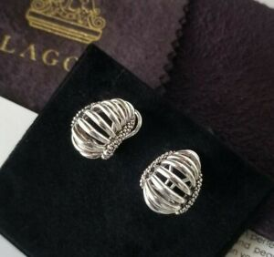 LAGOS - 14K Gold and Sterling Silver Caviar Spinal Earrings - Stunning!