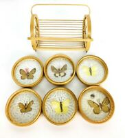 Vintage MCM Boho Wood and Glass Butterfly Coaster Set with Holder 7 Pc Set