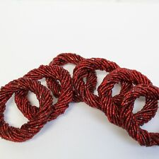 Set of 6 Red Beaded Wrap Napkin Rings Pier 1 One Holiday Christmas Table Decor