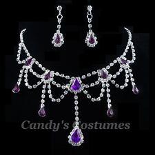 Victorian RHINESTONE Crystal PURPLE Necklace EARRINGS Deb BRIDAL Formal BLING xx