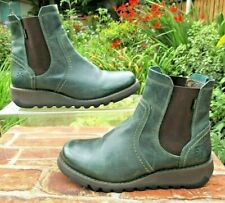 FLY LONDON GORETEX PULL ON WEDGE HEEL ANKLE BOOTS SIZE 38 ( 5 ) GREEN LEATHER