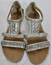 45d941a46 Davids Bridal Silver Embellished Sandals Size 11 Prom Wedding Roman Style