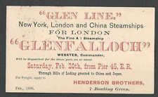 1888 PC NY TO LONDON & CHINA STEAMSHIPS STEAMSHIP GLENFALLOCH LEAVING SEE INFO