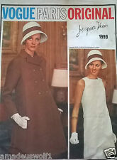 VINTAGE Années 60 VOGUE PARIS ORIGINAL 1999 Jacques Heim Manteau & Robe sewing pattern