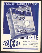 """PARIS (XVII°) AFFICHE A4 / HUILE AUTOMOBILE """"YACCO"""" illustrée par H.A. GHIGLIA"""