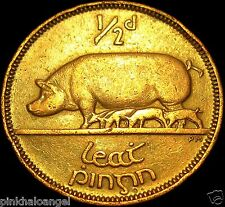 Sow with Piglets - Ireland - Irish 1942 Half Penny - Large Irish Coin  WW 2 Coin